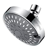 High Pressure Fixed Shower Head HOPOPRO 5-Setting Upgraded Bathroom Showerhead 4 Inch High Flow Shower Head with Adjustable Metal Swivel Ball Joint for Luxury Shower Experience Even at Low Water Flow
