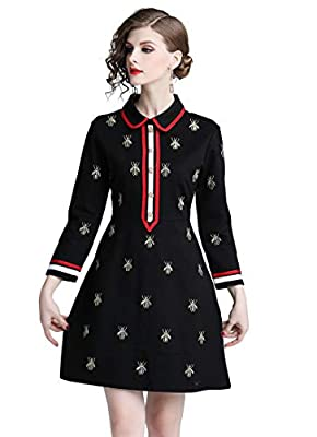 Collared neckline,Button front fastening Mini length,Embroidery detail Occasion:Cocktail Party,Dating,Evening Dinner,Office,Family Gathering,Daily Wear. Garment Care:Machine wash,Package Includes:1 x dress The tag size is Asian Size,please refer to t...