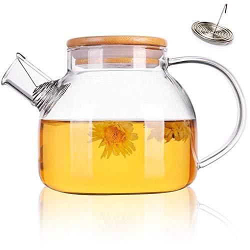 Tetera de cristal de 1000 ml, jarra de agua, jarra de jugo de té, multifunción, boquilla de filtro resistente al calor para bebidas frías y calientes, jarra de borosilicato sin goteo