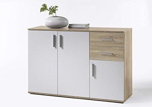 AVANTI TRENDSTORE - BEA - Com e cassettiere, in Legno Laminato e Bianco, Disponibile in 2 Diversi Colori e 3 Diverse Dimensioni (Quercia Sonoma - Bianco, 120x82x35 cm)