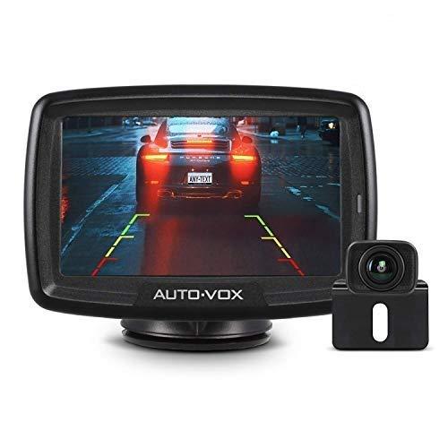 AUTO-VOX CS-2 Cámara de marcha atrás inalámbrica digital, IP68 a prueba de agua, visión nocturna, monitor de 4.3 ', transmisor integrado