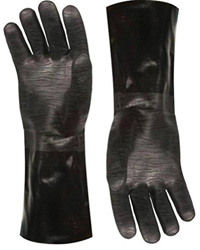 Artisan Griller BBQ Gloves Extreme Heat Resistant Grill Smoker Fryer Oven Kitchen Cooking Gloves. Great Barbecue Smoking Oyster Meat Glove– Long XL Waterproof, Oil Resistant -(Size 10/XL – Black)