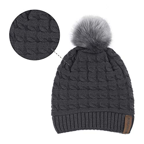 ViGrace Womens Winter Knit Hat Slouchy Warm Beanie Hats Chunky Baggy Faux Fur Pompom Ski Cap with Fleece Lined for Women