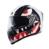 TORC T15B Bluetooth Integrated Full Face Motorcycle Helmet With Graphic (T15B Chrome Flying Tiger, Small)