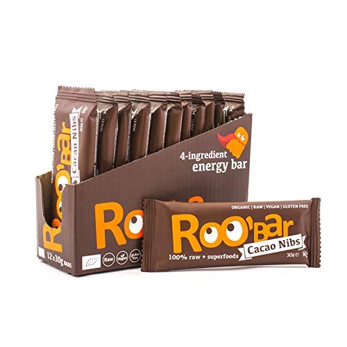 Roobar Rohkostriegel Kakaonibs - Milchfrei & Glutenfrei, 100% Bio, Vegan, Superfoods für eine optimale Ernährung, ohne raffinierten Zucker - 12 x 30g Superfood-Riegel