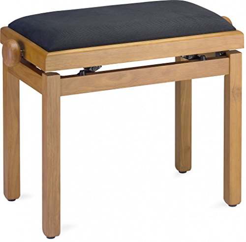 Stagg PB39 OAKM VBK Piano Bench - Matte Oak Finish with Black Velvet Top