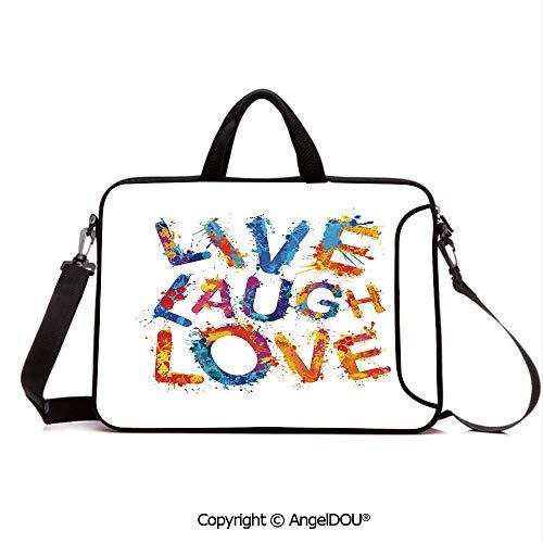 AngelDOU Laptop Sleeve Notebook Bag Case Messenger Shoulder Laptop Bag Watercolor Splash Paint Art Letters Joyous Delirious Grunge Quotation Compatible with MacBook HP Dell Lenovo Multicolor