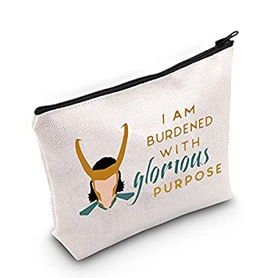 Material: The bag is made from Polyester fibre and has a metal zipper. Size: 23.5 cm ( 9.25 inch ) * 17 cm ( 6.69 inch) . TIPS: Manual measuring permissible error. Bag with words: I AM BURDENED WITH glorious PURPOSE Cute cosmetic bags: printed with w...