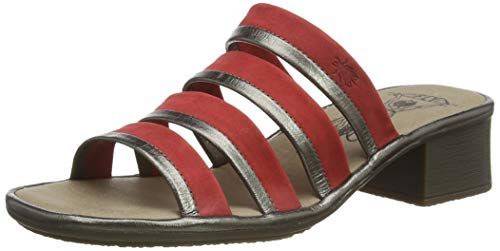FLY London Enak183fly, Mules Mujer, Multicolor (Bronze/Lipstick Red 002), 38 EU