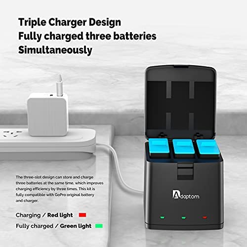 Adaptom Hero 9 Batteries (3-Pack) and 3-Channel USB Storage Quick Charger for Gopro Hero 9 Black, Fully Compatible with Original Go pro 9 Battery and Charger