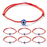 6pcs Evil Eye String Kabbalah Bracelets for Protection and Luck Hand-Woven Red Rope Cord Thread Friendship Bracelet Anklet (HS022-red-6)