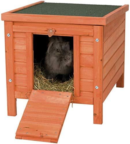 Trixi3 62391 Natura knaagdierenhuis | Nachthok om bij buitenren te gebruiken | Dak van boven te openen | Dennenhout | Afmetingen 42 x 43 x 51 cm