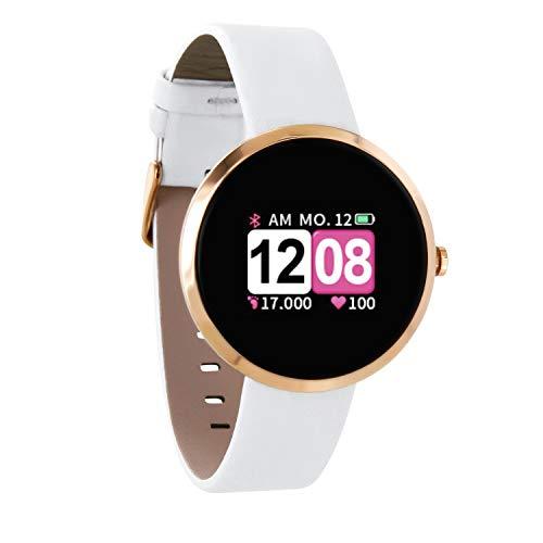 X-WATCH 54035 SIONA COLOR FIT Farb-TFT Damen Smartwatch, Activity Tracker für Android und Apple iOS Pure Polar Weiß