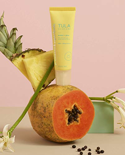 TULA Probiotic Skin Care Protect + Glow Daily Sunscreen Gel Broad Spectrum SPF 30   Skincare-First, Non-Greasy, Non-Comedogenic & Reef-Safe with Pollution & Blue Light Protection   1.7 fl. oz. 2