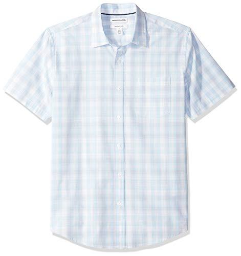Amazon Essentials Men's Regular-Fit Short-Sleeve Plaid Casual Poplin Shirt, Light Blue/White, Large