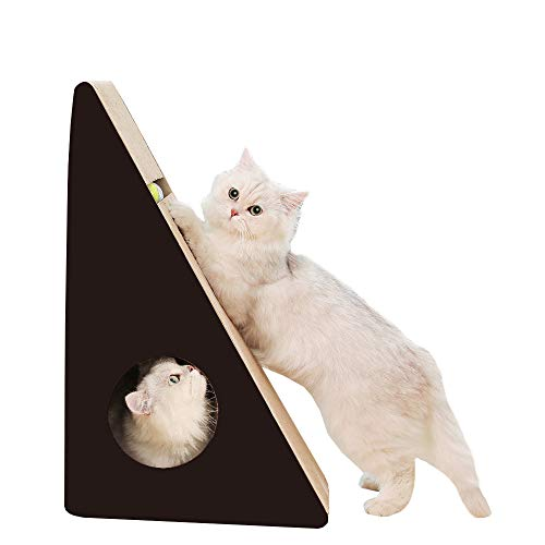 RAKU 猫つめとぎ ダンボール 三角型 ボール付き 猫ハウス 猫ベッド 室内用 耐久性 耐磨耗性 退屈解消 スト...