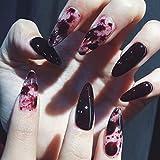 Edary False Nails Gothic Full Cover Glossy Fake Nails Shape Nails Sharp Art 24Pcs Stiletto Nail for Women