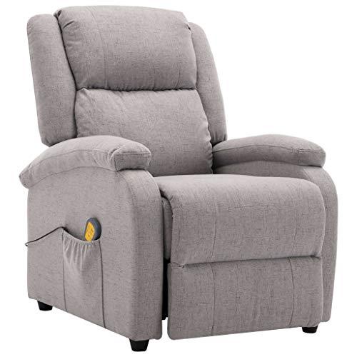 vidaXL Poltrona Massaggiante 3 Livelli 8 Zone Reclinabile Riscaldamento Sedia Massaggio Imbottita Gommapiuma Densa Relax Grigio Chiaro in Tessuto