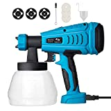 Tilswall Paint Sprayer, 550w Spray Gun Home Electric Paint Gun with 1300ml Detachable Tank max 1200ml/min, 3 Spray Patterns, 3 Nozzle Sizes for Fence, Cabinet, Home Painting