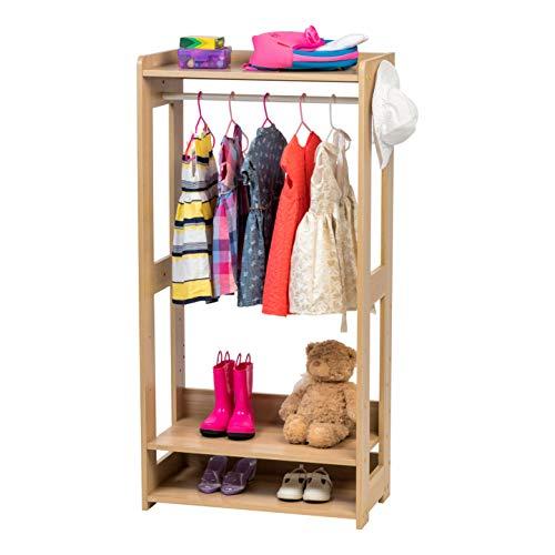 Iris Ohyama + Kids Garment Rack KWR-1 L.Brown Appendiabiti/Attaccapanni per Bambini con Ripiani e Ganci, Engineered Wood, Rovere Chiaro, L60 x P32 x H120 cm
