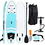 Inflatable Stand Up Paddle Board SUP Comes with High Pressure Pump with Gaug Adjustable Paddle Big Durable Backpack, 10'x30'x6'' Wakeboards Surfboard Longboards (Promote Use Same Product, 10'x30 'x6')
