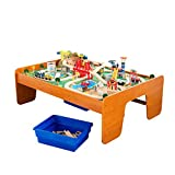KidKraft Ride Around Town Wooden Train Set and Table with Helicopter, Airplane, Farm, Storage Bins and 100 Pieces, Compatible with Other Major Brand Trains, Honey, Gift for Ages 3+, Amazon Exclusive (Toy)