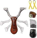 Toparchery Steinschleuder Set:Pocket Shot Slingshot Schleuder Zwille Katapult Sportschleuder Jagd Schleuder-Profi aus Edelstahl Spielzeug Erwachsene