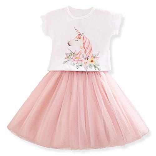 TTYAOVO Vestido Informal de Unicornio para Niños Pequeños Vestido de Unicornio para Niñas Pequeñas Camiseta con Estampado Estampado + Tutu Falda Talla 5-6 años Rosa