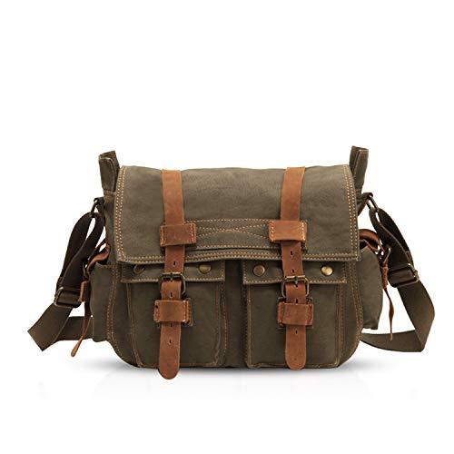 FANDARE Unisex Borsa a Tracolla 14 pollici Laptop Messenger Bag Uomo Borse a Spalla Borsa Zainetto Briefcase Multifunzione Tela Verde Militare