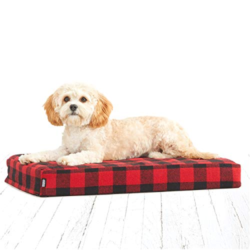"BarkBox Orthopedic Memory Foam Dog Bed with Free Toy; Multiple Sizes/Colors; Joint-Relief; Machine Washable Cover; Waterproof Lining (Small Mattress Sheet - 24"" x 16"" x 3"", Red Buffalo Check)"