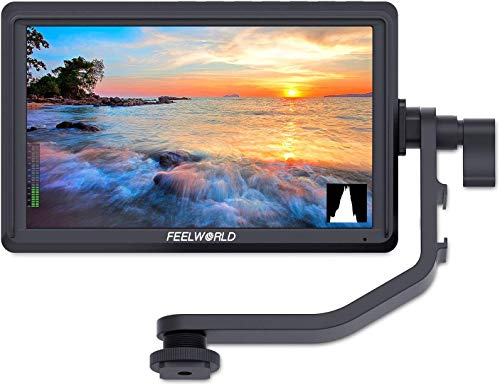 Feelworld FW568 5.5 Pollici On Camera Field Monitor DSLR Small Full HD 1920x1080 IPS Video Peaking Focus Assist con 4K HDMI 8.4V DC Input Output Includono Tilt Arm