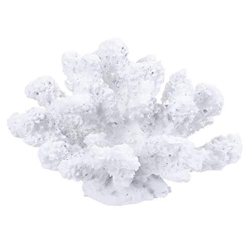 IMIKEYA Künstliche Coral Ornament Korallen Pflanze Ornament Künstliche Dekoration für Aquarium Landschaft Unterwasser Dekor(Weiß)