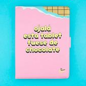 """La Vecina Rubia Funda Tablet Universal 10.1"""" Pulgadas - Tipo Libro, con Diseño Tableta de Chocolate"""