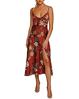 Material:Fashionme's Summer Casual Semi Formal Sphaghetti Strap Slip Dress with Slit for Women, made of Satin Blend, not faded and not see-through, lightweight, smooth, droopy, breathable and comfortable to wear; Ruched and stretchy back design to co...