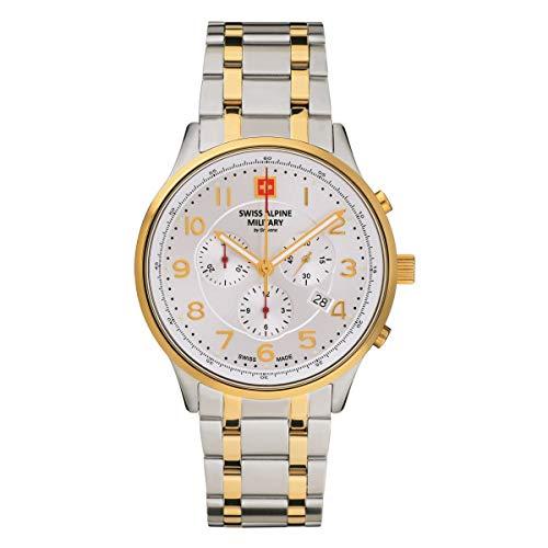 Swiss Alpine Military Herren Uhr Chronograph Analog Quarz 7084.9142SAM Edelstahl