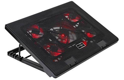 Mars Gaming MNBC2 - Base de jeu de refroidissement pour ordinateurs portables jusqu'à 17.35 '(5 ventilateurs ultrasilents, éclairage LED rouge, 2 x USB2.0), noir et rouge