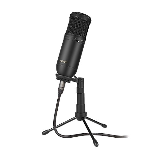 AUKEY USB Condenser Microphone for Recording, Cardioid Microphone with Low Cut & PAD Switch and Tripod Stand for PC and Computer