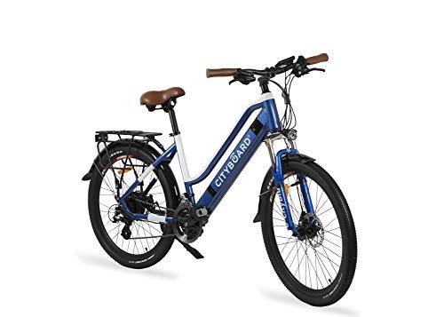Cityboard E- City Bicicleta Eléctrica, Unisex Adulto, Azul/Blanco, 26...