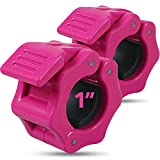 "Quick-Release Safety Collars 1 inch, Set of 2- PINK – By Day 1 Fitness, Weight Locking Clips for Standard Weightlifting 1"" Bars - Heavy-Duty 1-inch Plate Clamps for Powerlifting, Strength Training"
