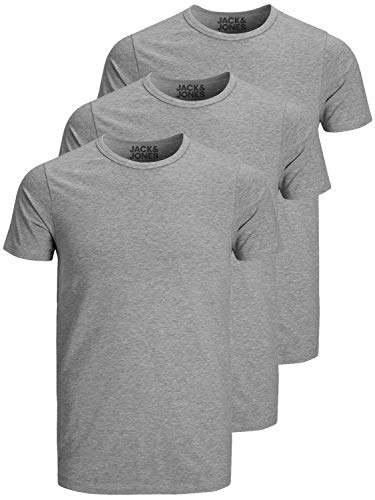 Jack and Jones Herren T-Shirt Basic Rundhals 3er Pack einfarbig Slim...