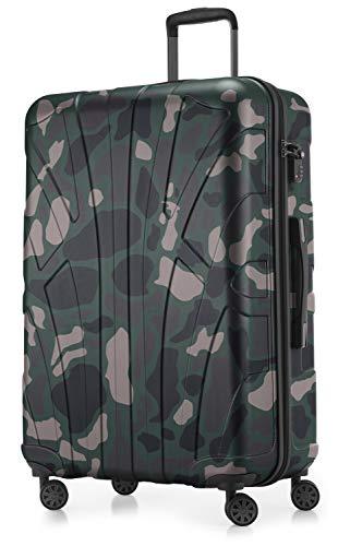 Suitline großer Hartschalen-Koffer Koffer Trolley Rollkoffer XL Reisekoffer, TSA, 76 cm, ca. 86 Liter, 100{a18e4321e9954d56cc469db36b0f000e66da35c32ad733cff5b5538476f561bf} ABS Matt, Camouflage