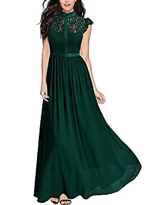 SIZE RECOMMEND: US 4/6(Small), US 8/10(Medium), US 12/14(Large), US 16(X-Large), US 18(XX-Large), US 20(3X-Large) Elegant Half of high-collar,Cap Sleeve,See-Through Lace Design,Contrast Different Fabric Vintage Formal style, Maxi Dress Please Put Int...