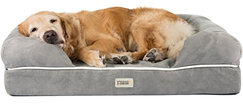Prestige Edition Orthopedic Dog Bed Memory Foam | Bolster Dog Couch Pet Sofa Beds with 100% Suede Removable Cover 4' Mattress Memory-Foam Chew Proof Durable | Size Large 36' x 28' x 9' Pewter Grey