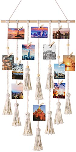 Mkono Hanging Photo Display Macrame Wall Hanging Pictures...