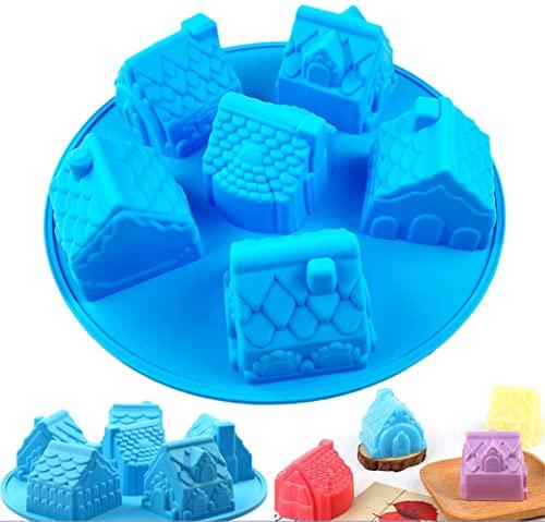 JasCherry Molde de Silicona, 6 Cavidades Forma de Casa 3D Moldes para Caramelos, Antiadherentes Molde de Jabón para Hornear, para Pastel, Repostería, Panecillo, Pudín, Bizcocho