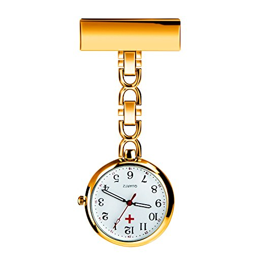 WIOR Nurses Lapel Pin Watch Hanging Medical Doctor Pocket Watch Quartz Movement Nurses Watch for Xmas Birthday Mothers Day (Silver)