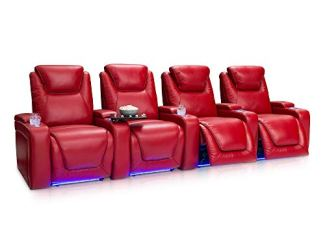 Seatcraft Equinox Home - Theater Seating - Power Recline - Power Headrest, Lumbar - Leather - USB Charging - Lighted Cupholders - in Arm Storage - SoundShaker - (Row of 4, Red)