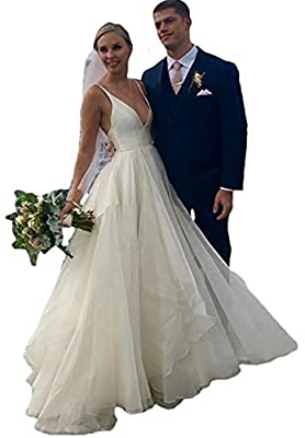 2020 Women's V-neckline A-line Simple Backless Wedding Dress Ivory/White,Spaghetti Strap Wedding Dresses,Beach Wedding Dresses. Fabric/Features: Noble Imported Tulle,Satin,Organza. Sexy Simple Style,Build in bras,V-Neck,A-Line,Backless/Open Back,Swee...