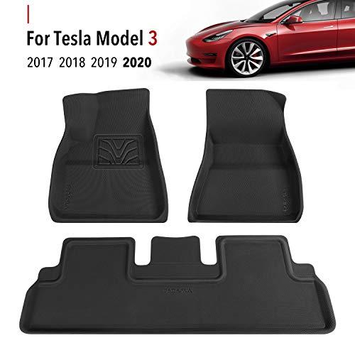 Farasla Floor Mats for Tesla Model 3 - Premium All Weather Anti-Slip Floor Liners - Compatible with 2017, 2018, 2019 2020 Models (3 Pieces/Set)