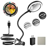LED Magnifying Lamp with Clamp, Raweao 3X Lighted Hands Free Magnifying Glass with Light for Reading, Seniors, Hobbies, Craft